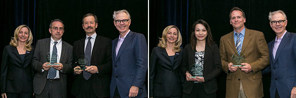 Drs. Draetta and Cantley (left) and Drs. Le and Crocenzi accept their plaques for their 2014 Research Acceleration Network (RAN) Grants. Please click here to read about this year's generous RAN Grant funders. Photo ©2014 AACR/Todd Buchanan