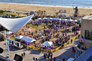 An early-morning crowd gathers for PurpleStride Tidewater in Virginia Beach, Va., on April 5, 2014.