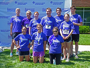 Members of Team Der Lab, including Dr. Kirsten Bryant (front row, second from left) and Dr. Channing Der (back row, second from left), supported PurpleStride Raleigh-Durham on May 17, 2014.