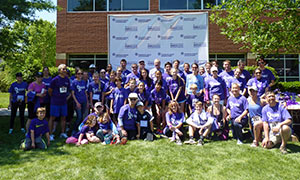 Two teams from The University of North Carolina at Chapel Hill – Team Der Lab and Team UNC – come together to raise funds and awareness for pancreatic cancer at PurpleStride Raleigh-Durham.