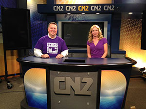 Mark Weber (Charlotte Media Relations Chair) interviews Shannon Gardner (Charlotte Volunteer Chair) on CN2 News in Rock Hill, S.C. about her mom's cancer journey and volunteering for PurpleStride.