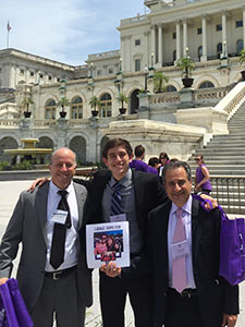 Eric Doppelt (center) with his dad, Harvey (left), and his uncle, Eugene Negrin, in front of the U.S. Capitol at Advocacy Day 2015.
