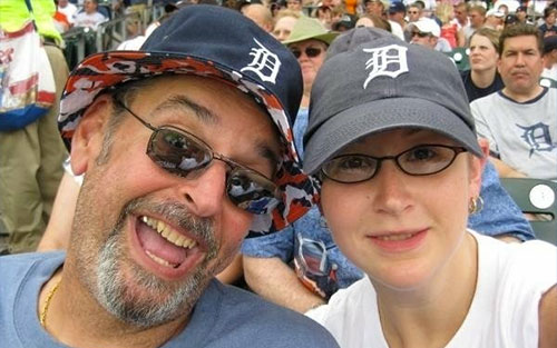 Lauren with her dad, Doug at a Detroit Tigers baseball game.