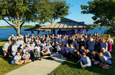 Team Kivitt, 150 people strong, raised almost $5,000 at PurpleStride Broward-Palm Beach 2016.