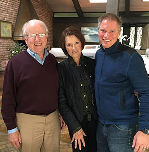 Anne Montgomery at her 80th birthday celebration with her husband, Mead, and their older son Stuart.