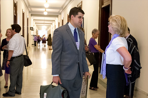 Josh Yazman attends meetings with advocates from his area and members of Congress at Pancreatic Cancer Advocacy Day, requesting continued research funding for pancreatic cancer.