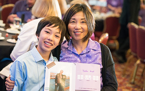 Daniel Arad and his mom, Jing Tian, at Pancreatic Cancer Advocacy Day 2016