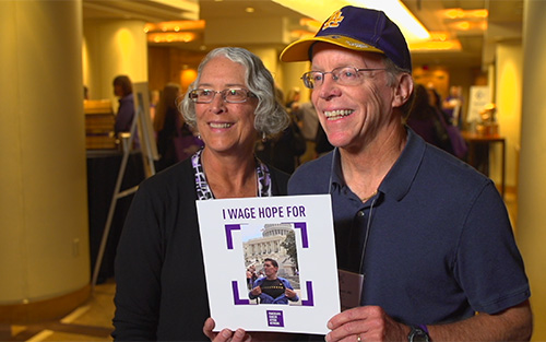 Yvonne and Dennis Noesen, parents of Tyler, who passed away from pancreatic cancer