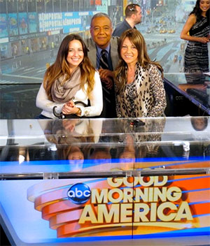 Ron and Camille smile after discussing her journey with pancreatic cancer on Good Morning America.