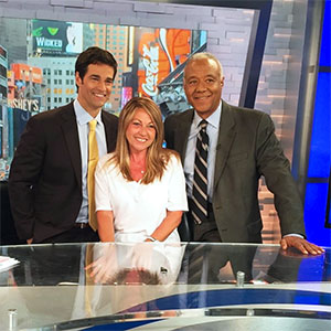 Camille, Rob and Ron smiling after talking with her and raising awareness about pancreatic cancer on-air on Good Morning America.