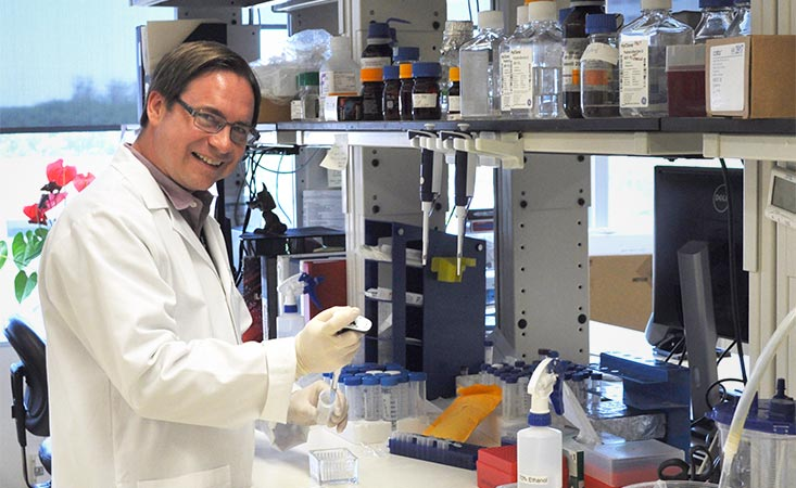 Cancer immunologist Michael Curran, PhD, pipettes in his MD Anderson laboratory.