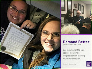 Pancreatic cancer advocates hold awareness proclamation for St. Ansgar and Mason City, Iowa